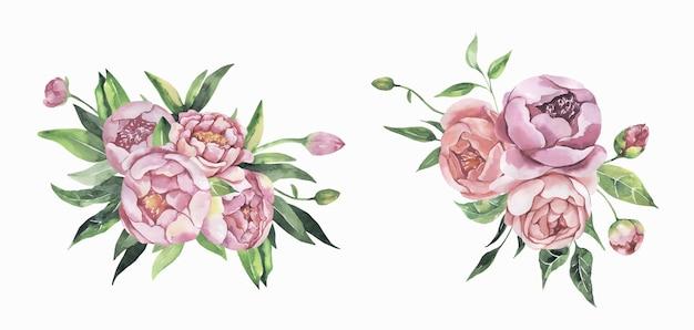 Акварельные цветочные розовые букеты