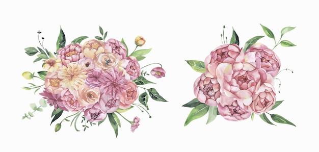 Акварельные цветочные розовые букеты Premium векторы