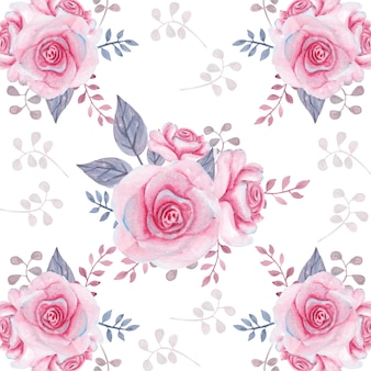Watercolor floral pink roses and leaves seamless pattern