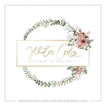 Watercolor floral premade logo.