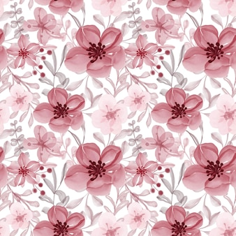 Watercolor floral red seamless pattern