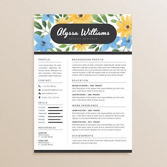 Watercolor Floral Resume CV Design