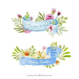 수채화 꽃 리본