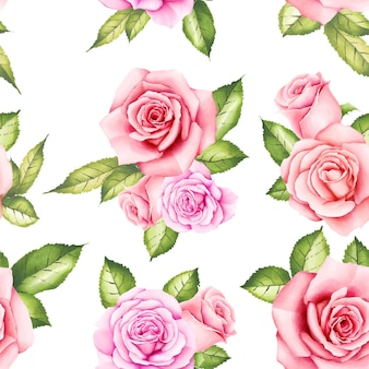 Watercolor floral rose seamless pattern