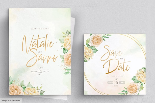 수채화 꽃 장미 결혼식 초대 카드 세트