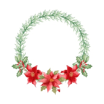 Watercolor floral round christmas wreath decoration with poinsettia