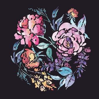 赤いバラの水彩花柄ラウンドフレーム