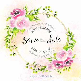 Watercolor floral save the date template