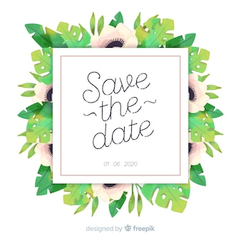 Watercolor floral save the date