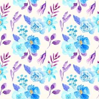 Watercolor floral seamless pattern blue and purple