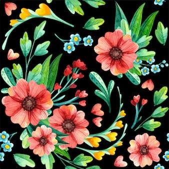 수채화 꽃 원활한 패턴입니다. 검은 배경에 밝은 봄, 여름 꽃꽂이. 포장지, 직물, 벽지, 타일, 스크랩북을위한 유행 인쇄.