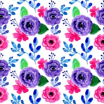 Watercolor floral seamless pattern colorful
