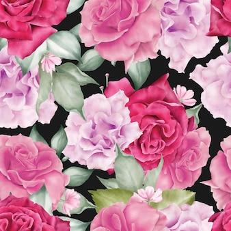 수채화 꽃 원활한 패턴 꽃