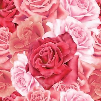수채화 꽃 원활한 패턴 꽃 프리미엄 벡터