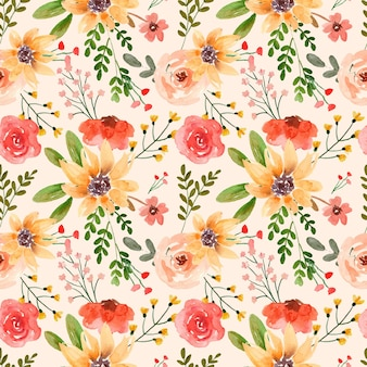 Watercolor floral seamless pattern red rose and yellow lily