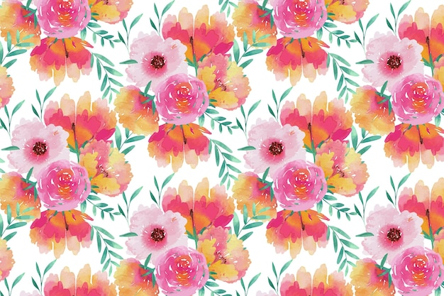Watercolor floral seamless pattern template