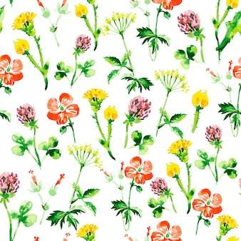 水彩花柄のシームレスなパターン。野生の花とヴィンテージのレトロな夏の背景