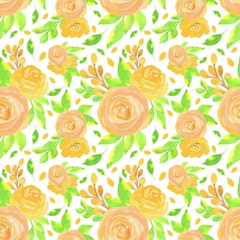 Watercolor floral seamless pattern with beautiful roses