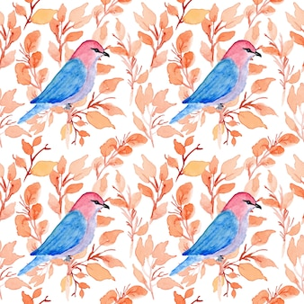 Watercolor floral seamless pattern with bird
