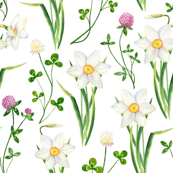 Watercolor floral seamless pattern with clover and narcissus flowers