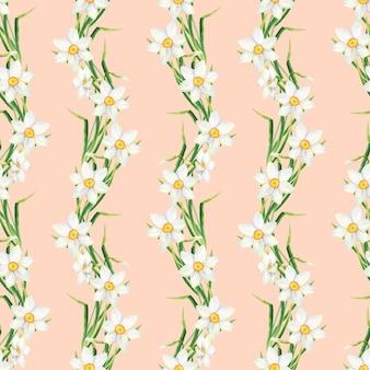 水仙の花と水彩花のシームレスなパターン