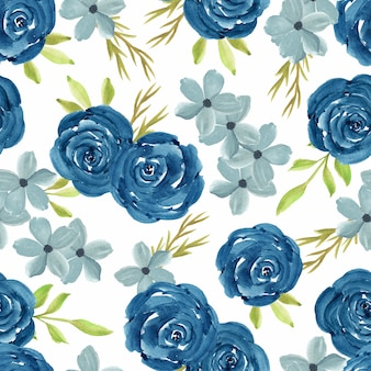 Watercolor floral seamless pattern with navy rose