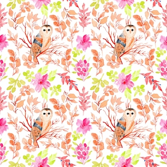 Watercolor floral seamless pattern with owl