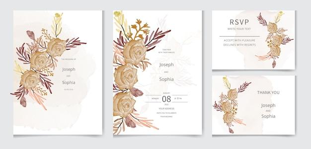 バラの葉の枝バンドルウェディングカードの白いコレクションに分離された水彩花セット
