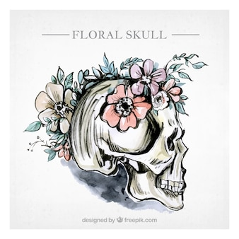 Watercolor floral skull background