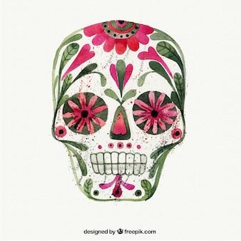 Акварель цветочный череп