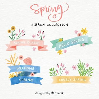 Watercolor floral spring ribbon collection
