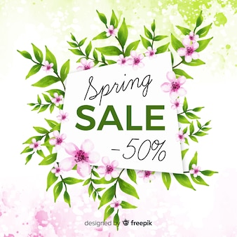 Watercolor floral spring sale background