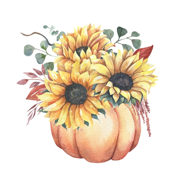 Watercolor floral sunflower bouquets with pumpkins.