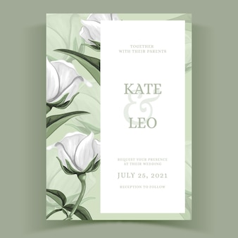 Watercolor floral template for wedding invite