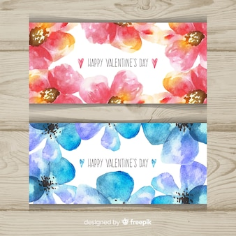 Watercolor floral valentine banner