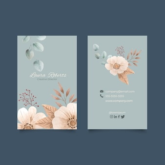 Watercolor floral vertical business cards