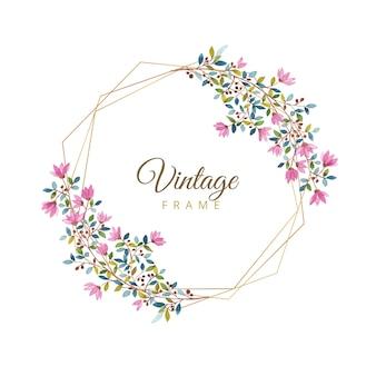Watercolor floral vintage frame with gold border