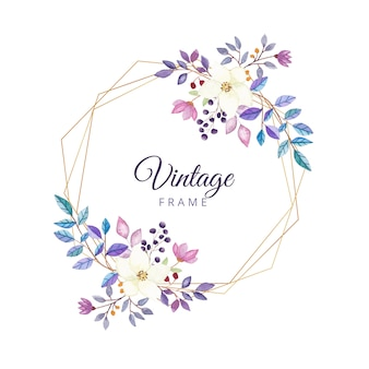 Watercolor floral vintage frame with gold border
