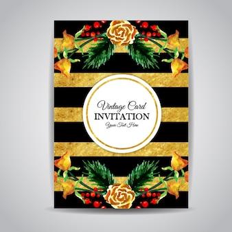 줄무늬와 수채화 꽃 빈티지 초대 카드