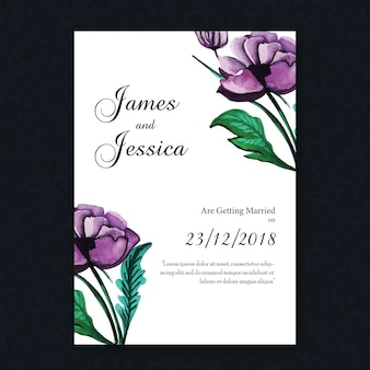 Watercolor Floral Vintage Wedding Invitation Card