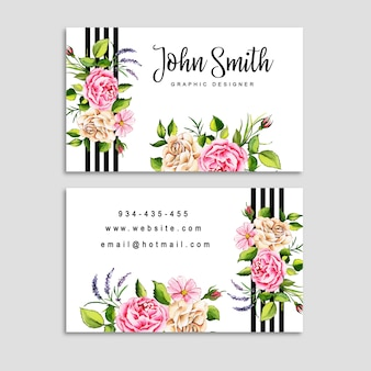 Watercolor floral visiting card with stripes