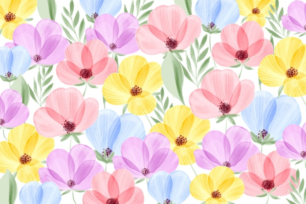 Watercolor floral wallpaper with pastel colors