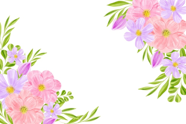 Watercolor floral wallpaper with white space