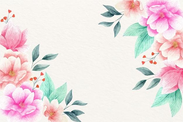 수채화 꽃 무늬 벽지