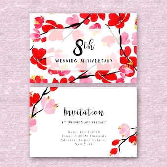 Invitation anniversaire vectors photos and psd files free download watercolor floral wedding anniversary invitation stopboris Choice Image