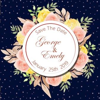 수채화 꽃 결혼 배지
