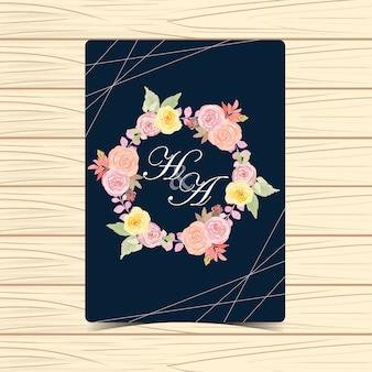 Watercolor floral wedding badge