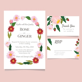 Watercolor floral wedding card save the date collection