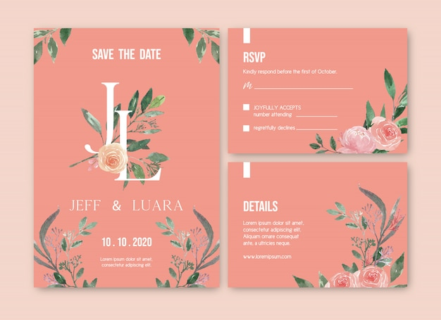 Watercolor floral wedding card template