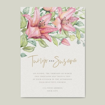 Watercolor floral wedding card